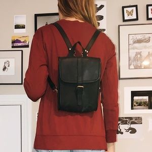 Handbags - Vintage Leather Convertible Backpack